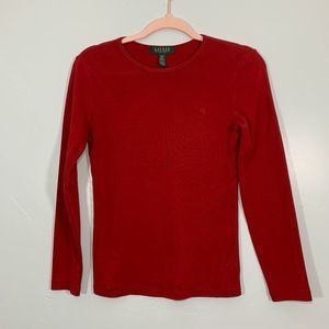 Vintage | Ralph Lauren | Red Logo Long Sleeve Top